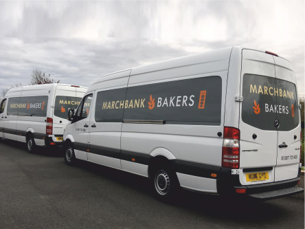 large size bakers van with graphic signs