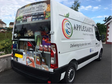 large size delivery van with partial wrap