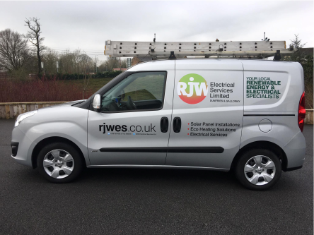 mid size renewable electrical energy van with graphic signs