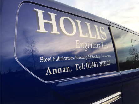mid size steel fabricators van with graphic signs
