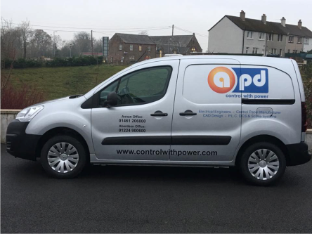 small size electrical enegineers van with graphic signs