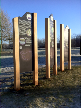 image of free standing upright interpretation panel with wooden supports access scotland