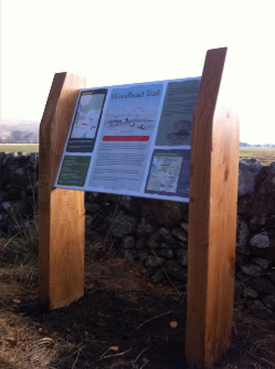 image of interpretation panel on wooden upright frame