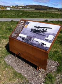 image of interpretation panel with wooden supports loch ryan stranraer