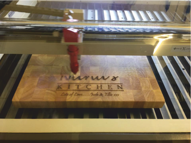 image of laser engraving wooden chopping board