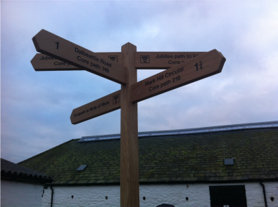 image of multiple wooden finger post sign paths and walks Dalbeattie